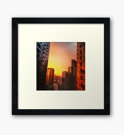 A Sunset View From City Southbank Balcony Melbourne Framed Print