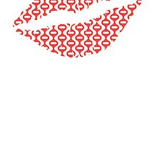 Red Retro Wave Lips by kwg2200