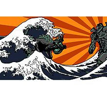 Kaiju Vs Jaeger (Japanese Wave) Photographic Print