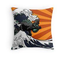 Kaiju Vs Jaeger (Japanese Wave) Throw Pillow