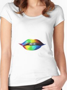 Rainbow lips T-Shirts & Hoodies Women's Fitted Scoop T-Shirt