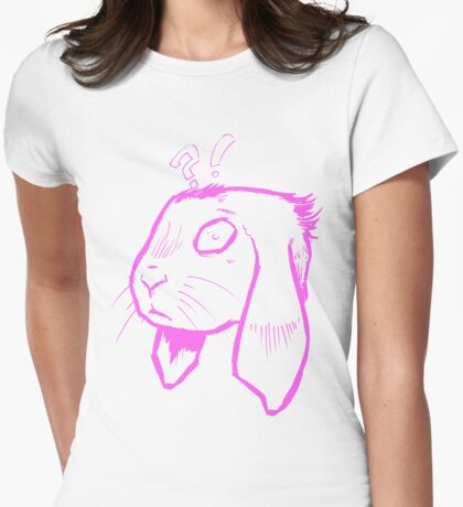 Surprised bunny !? Womens Fitted T-Shirt