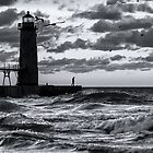 Danger at the Lighthouse - Manistee Michigan Sunset by Mike Koenig