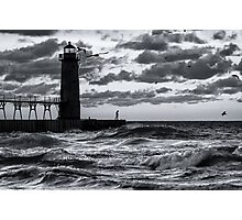Danger at the Lighthouse - Manistee Michigan Sunset Photographic Print