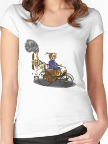 Steampunk vintage Peugeot style car Women's Fitted Scoop T-Shirt