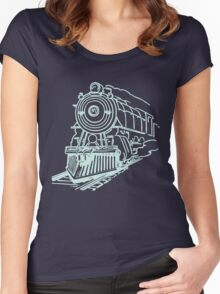 vintage train illustration Women's Fitted Scoop T-Shirt