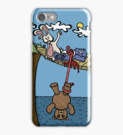 Teddy Bear And Bunny - Bungee Jump iPhone Case/Skin