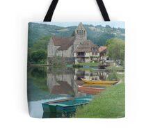 Boats on the river at Beaulieu-sur-Dordogne, France Tote Bag