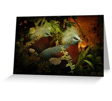 Two Victoria Crowned Pigeons in mystery forest Greeting Card