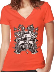 King's Throne of Barbells Women's Fitted V-Neck T-Shirt