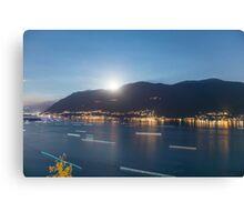 Alpine lake with light trails Canvas Print