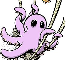 Octopus Swinging with Butterfly by Octomanart