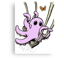 Octopus Swinging with Butterfly Canvas Print
