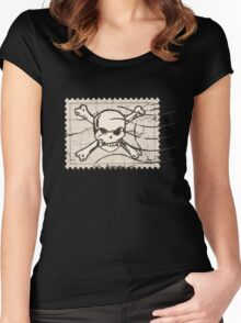 Skull Crack Stamp Women's Fitted Scoop T-Shirt
