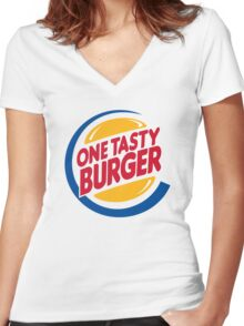 Burgers Mother$(%&@!, Do you eat them!? Women's Fitted V-Neck T-Shirt