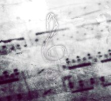 Music! Treble clef with Grunge Vintage Texture - DJ Retro Music Art Prints - iPhone and iPad Cases by Denis Marsili