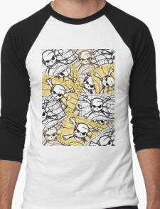 Funny Skull Stamp Men's Baseball ¾ T-Shirt