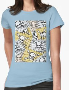 Funny Skull Stamp Womens Fitted T-Shirt