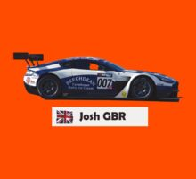 """Josh"" 007 Blue-White Race Car - Kid's T-Shirt by motapics"