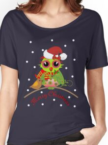Cute Christmas Owl on branch, Snow & Text Tee Women's Relaxed Fit T-Shirt