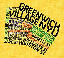 Typographic Greenwich Village Map, NYC by icoNYC