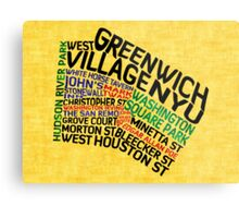 Typographic Greenwich Village Map, NYC Metal Print