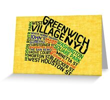 Typographic Greenwich Village Map, NYC Greeting Card