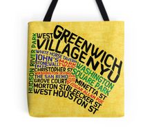 Typographic Greenwich Village Map, NYC Tote Bag