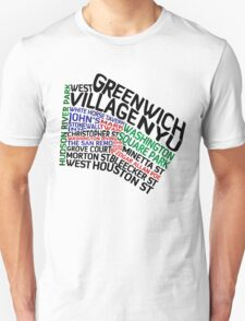 Typographic Greenwich Village Map, NYC T-Shirt