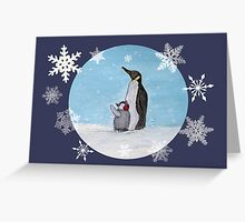 mum and baby penguin Greeting Card