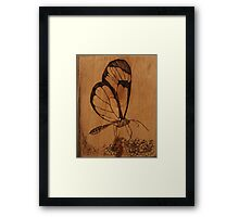 Pyrography: Glasswing Butterfly Framed Print