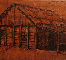 Pyrography: An Australian Slab Hut by aussiebushstick