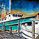 shrimp boat marine nautical art print by derekmccrea