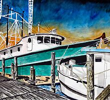 shrimp boat marine nautical art print by derekmccrea