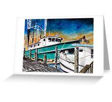 shrimp boat marine nautical art print Greeting Card