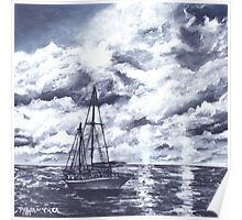 sail boat oil painting art print Poster