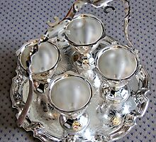 Four Silver Egg Cups by kathrynsgallery