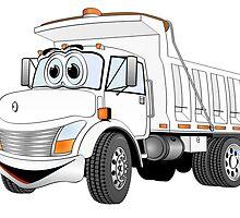 White Cartoon Dump Truck by Graphxpro