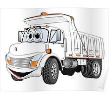 White Cartoon Dump Truck Poster