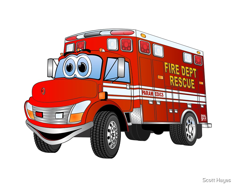Truck Cartoon Animal Shelter : Quot fire rescue truck cartoon by graphxpro redbubble