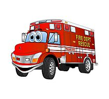 Fire Rescue Truck Cartoon Photographic Print