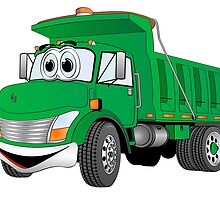 Green Cartoon Dump Truck by Graphxpro
