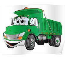 Green Cartoon Dump Truck Poster