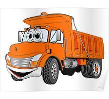 Orange Cartoon Dump Truck Poster