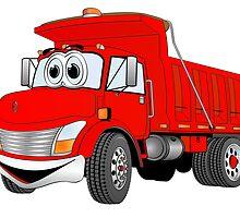 Red Cartoon Dump Truck by Graphxpro