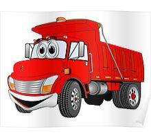 Red Cartoon Dump Truck Poster