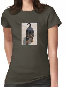 Cute Rottweiler Puppy Walking Towards The Camera Womens Fitted T-Shirt