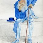 Sad Old Man Wearing Blue Sitting on a Bench by ibadishi