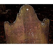 John Van Tassell's Headstone, Sleepy Hollow Cemetery Photographic Print