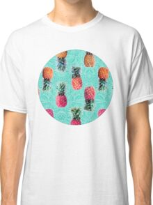 From Pineapple to Pink - tropical doodle pattern on mint Classic T-Shirt